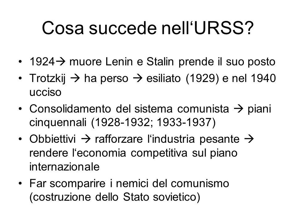 Cosa succede nell'URSS? 1924  muore Lenin e Stalin prende il suo posto Trotzkij  ha perso  esiliato (1929) e nel 1940 ucciso Consolidamento del sis
