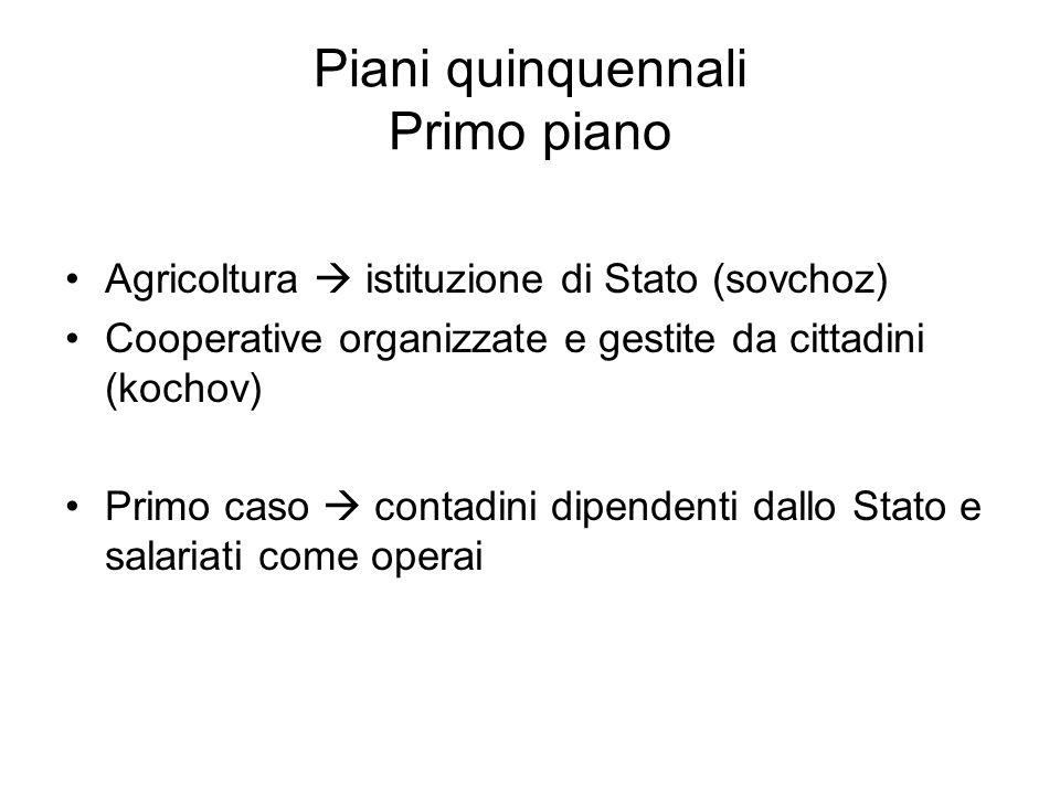 Piani quinquennali Primo piano Agricoltura  istituzione di Stato (sovchoz) Cooperative organizzate e gestite da cittadini (kochov) Primo caso  conta