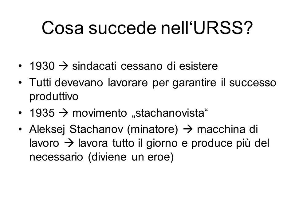 """Cosa succede nell'URSS? 1930  sindacati cessano di esistere Tutti devevano lavorare per garantire il successo produttivo 1935  movimento """"stachanovi"""