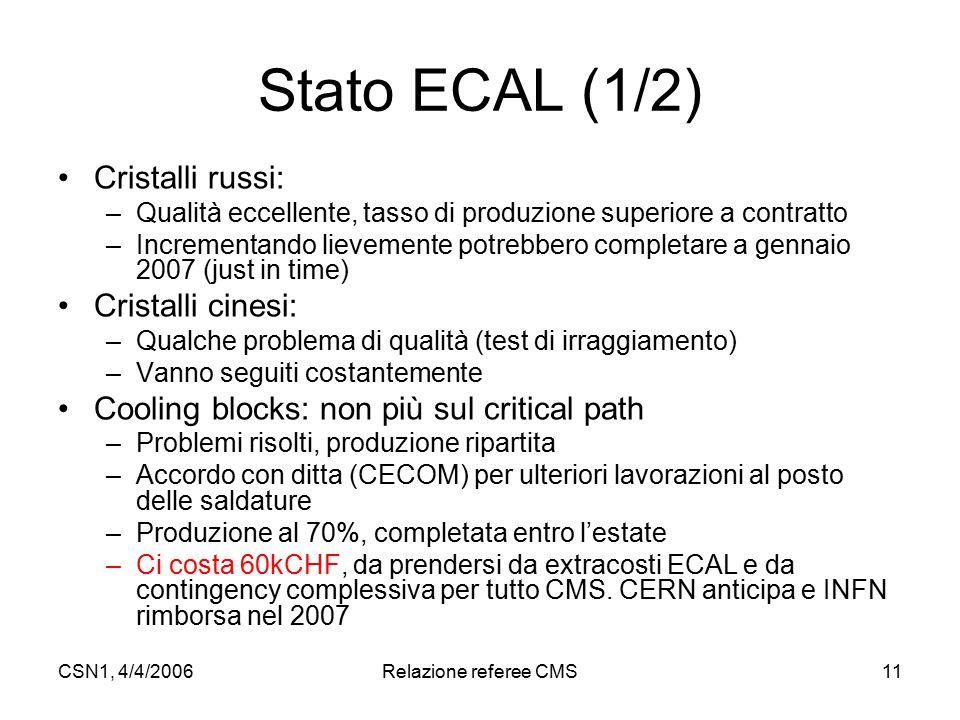 CSN1, 4/4/2006Relazione referee CMS11 Stato ECAL (1/2) Cristalli russi: –Qualità eccellente, tasso di produzione superiore a contratto –Incrementando