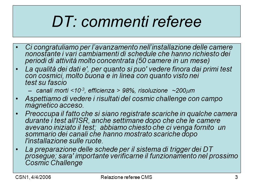 CSN1, 4/4/2006Relazione referee CMS3 DT: commenti referee Ci congratuliamo per l'avanzamento nell'installazione delle camere nonostante i vari cambiam