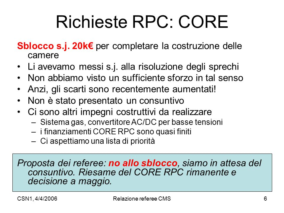 CSN1, 4/4/2006Relazione referee CMS6 Richieste RPC: CORE Sblocco s.j. 20k€ per completare la costruzione delle camere Li avevamo messi s.j. alla risol