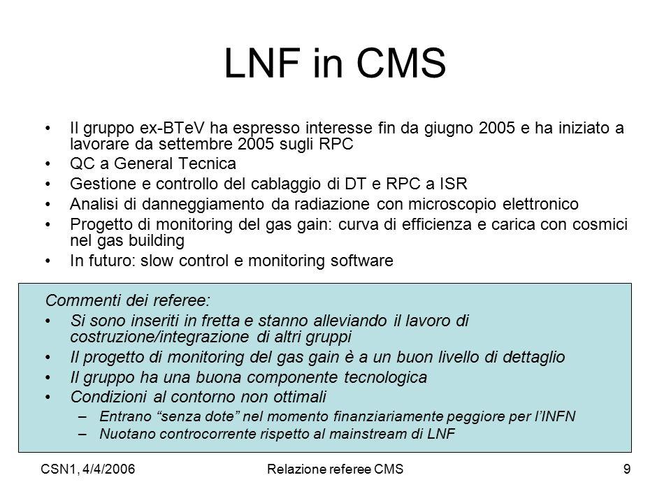 CSN1, 4/4/2006Relazione referee CMS9 LNF in CMS Il gruppo ex-BTeV ha espresso interesse fin da giugno 2005 e ha iniziato a lavorare da settembre 2005
