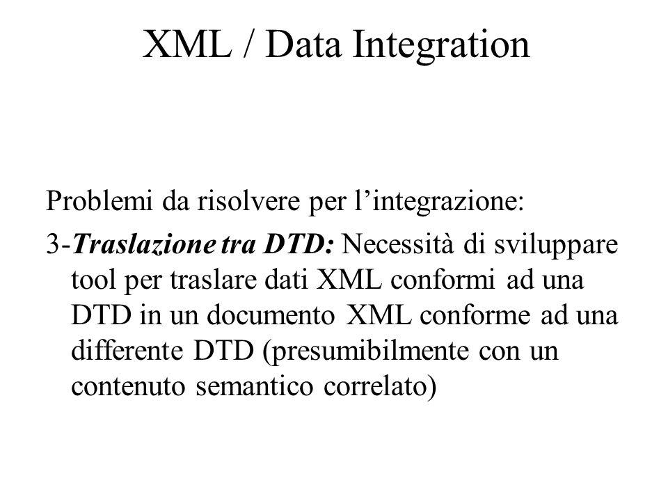 XML / Data Integration Problemi da risolvere per l'integrazione: 3-Traslazione tra DTD: Necessità di sviluppare tool per traslare dati XML conformi ad una DTD in un documento XML conforme ad una differente DTD (presumibilmente con un contenuto semantico correlato)