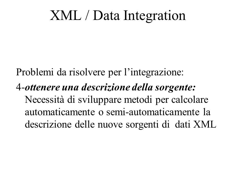 XML / Data Integration Problemi da risolvere per l'integrazione: 4-ottenere una descrizione della sorgente: Necessità di sviluppare metodi per calcolare automaticamente o semi-automaticamente la descrizione delle nuove sorgenti di dati XML