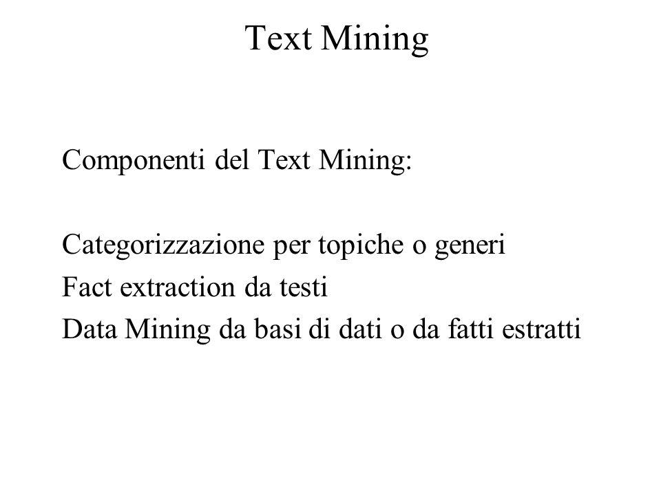 Text Mining Componenti del Text Mining: Categorizzazione per topiche o generi Fact extraction da testi Data Mining da basi di dati o da fatti estratti