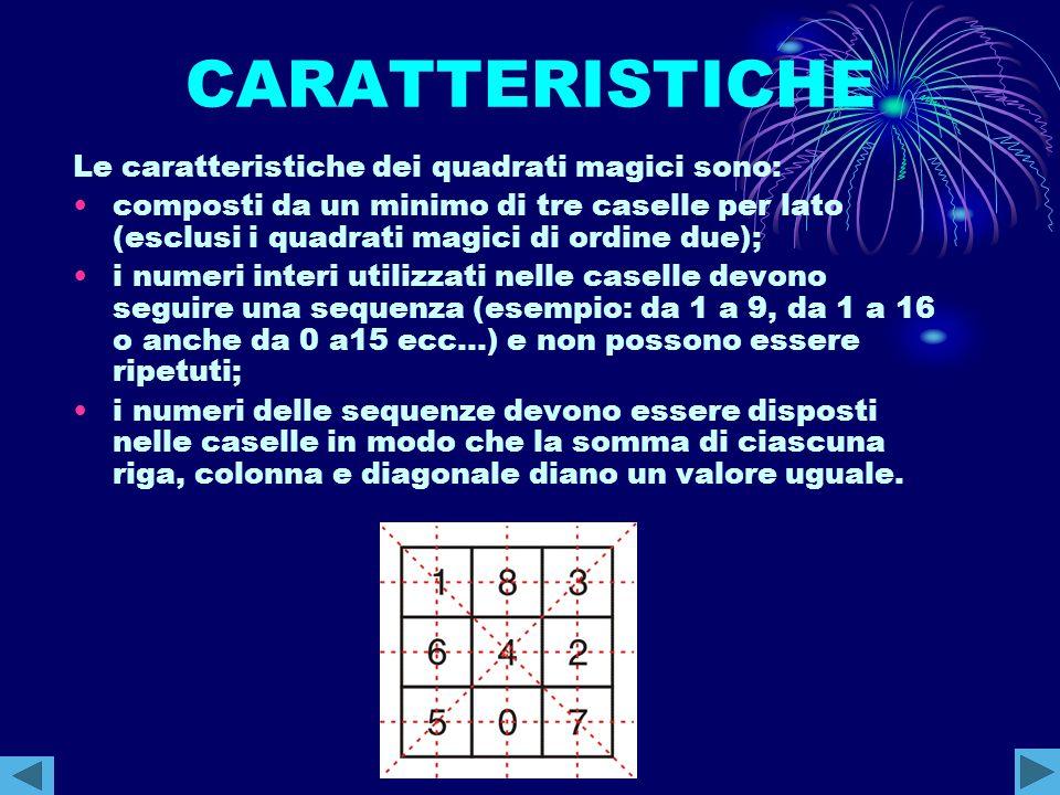 CARATTERISTICHE Le caratteristiche dei quadrati magici sono: composti da un minimo di tre caselle per lato (esclusi i quadrati magici di ordine due);