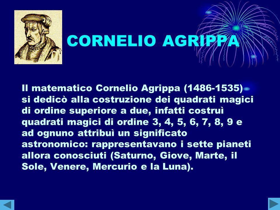 CORNELIO AGRIPPA Il matematico Cornelio Agrippa (1486-1535) si dedicò alla costruzione dei quadrati magici di ordine superiore a due, infatti costruì