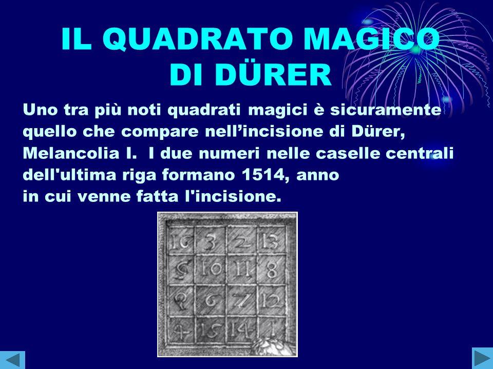IL QUADRATO MAGICO DI DÜRER Uno tra più noti quadrati magici è sicuramente quello che compare nell'incisione di Dürer, Melancolia I. I due numeri nell