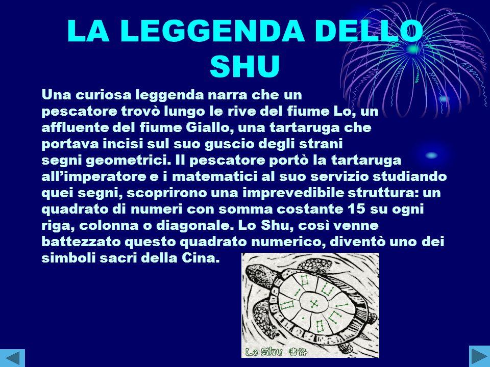 LA LEGGENDA DELLO SHU Una curiosa leggenda narra che un pescatore trovò lungo le rive del fiume Lo, un affluente del fiume Giallo, una tartaruga che p