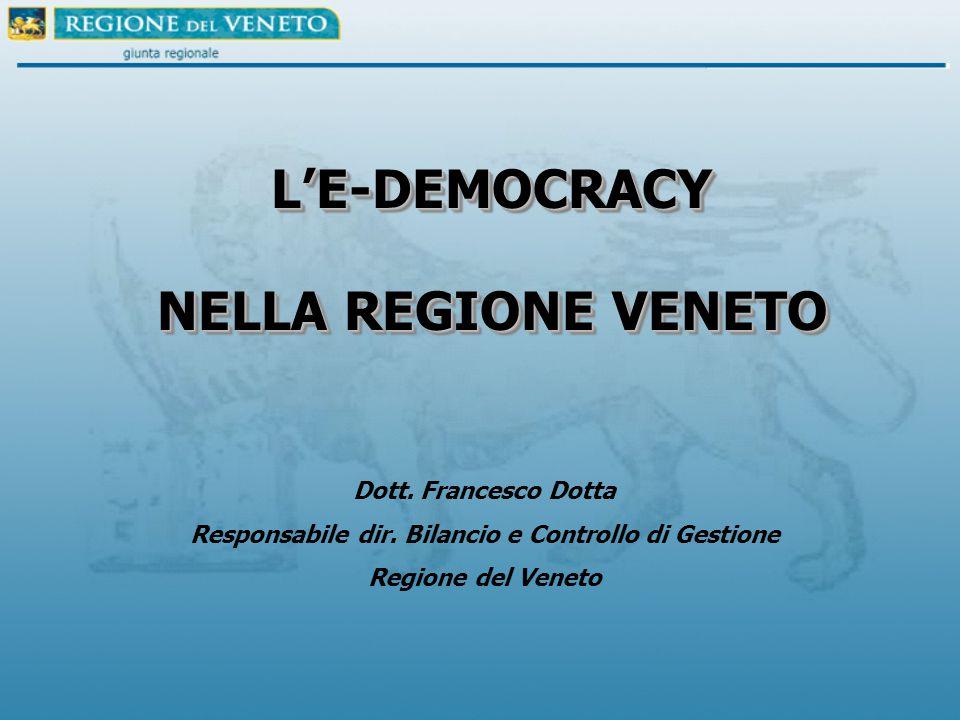 L'E-DEMOCRACY NELLA REGIONE VENETO L'E-DEMOCRACY Dott.