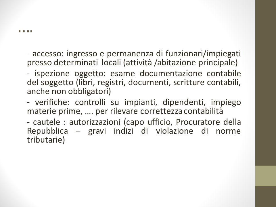 …. - accesso: ingresso e permanenza di funzionari/impiegati presso determinati locali (attività /abitazione principale) - ispezione oggetto: esame doc