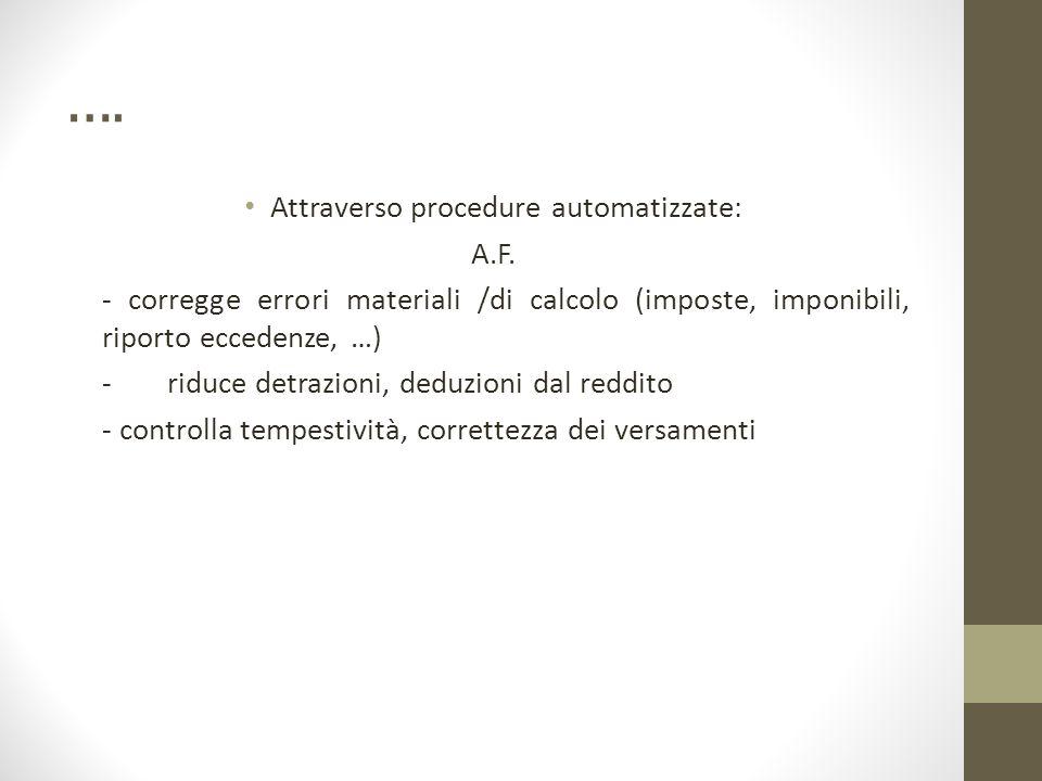 …. Attraverso procedure automatizzate: A.F. - corregge errori materiali /di calcolo (imposte, imponibili, riporto eccedenze, …) - riduce detrazioni, d