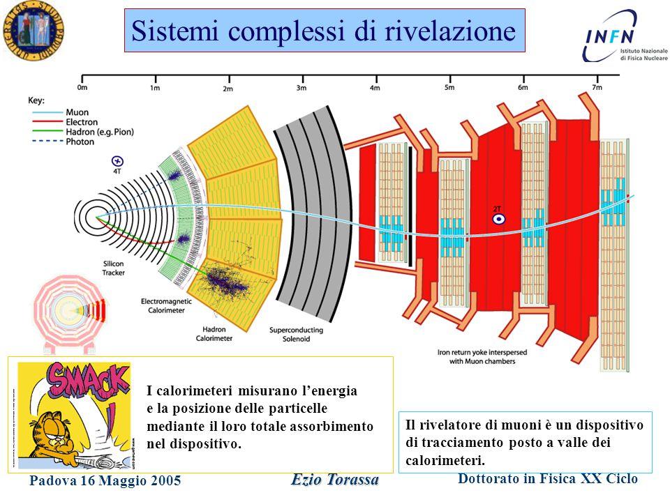 Dottorato in Fisica XX Ciclo Padova 16 Maggio 2005 Ezio Torassa Sistemi complessi di rivelazione I calorimeteri misurano l'energia e la posizione delle particelle mediante il loro totale assorbimento nel dispositivo.