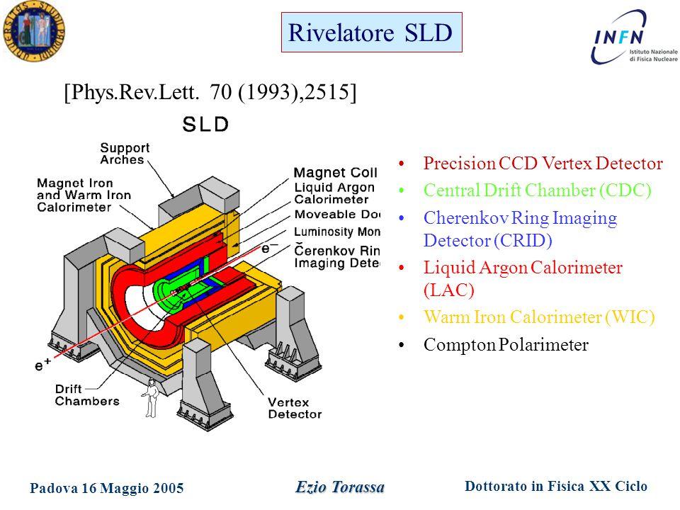 Dottorato in Fisica XX Ciclo Padova 16 Maggio 2005 Ezio Torassa Precision CCD Vertex Detector Central Drift Chamber (CDC) Cherenkov Ring Imaging Detector (CRID) Liquid Argon Calorimeter (LAC) Warm Iron Calorimeter (WIC) Compton Polarimeter [Phys.Rev.Lett.