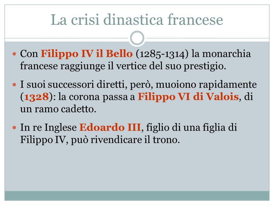La crisi dinastica francese Con Filippo IV il Bello (1285-1314) la monarchia francese raggiunge il vertice del suo prestigio. I suoi successori dirett