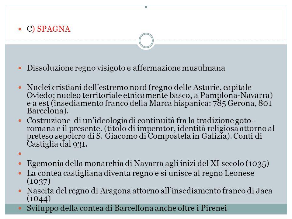 C) SPAGNA Dissoluzione regno visigoto e affermazione musulmana Nuclei cristiani dell'estremo nord (regno delle Asturie, capitale Oviedo; nucleo territoriale etnicamente basco, a Pamplona-Navarra) e a est (insediamento franco della Marca hispanica: 785 Gerona, 801 Barcelona).