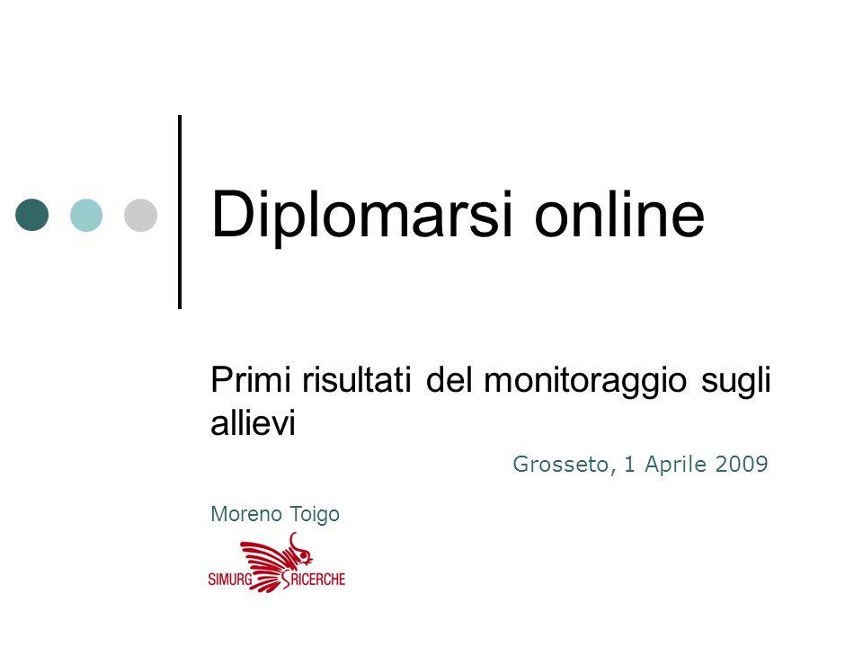 Diplomarsi online Primi risultati del monitoraggio sugli allievi Grosseto, 1 Aprile 2009 Moreno Toigo