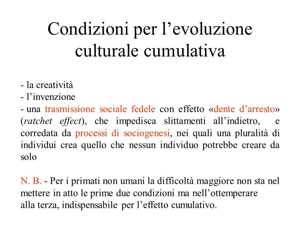 Condizioni per l'evoluzione culturale cumulativa - la creatività - l'invenzione - una trasmissione sociale fedele con effetto «dente d'arresto» (ratch