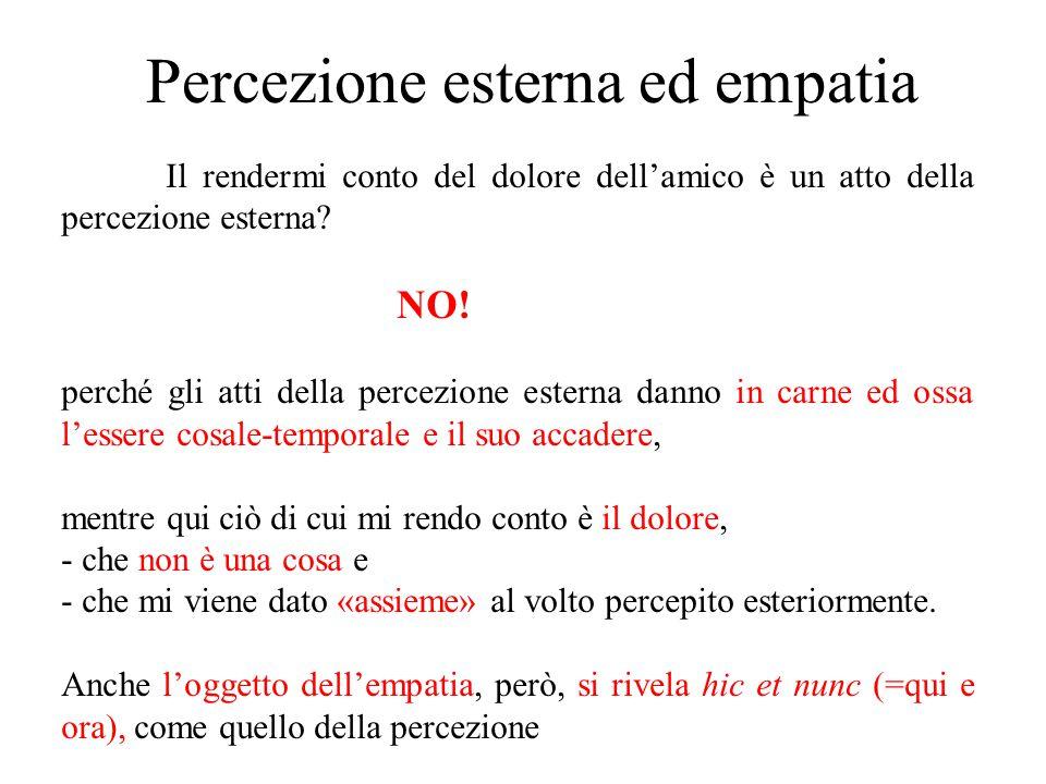 Percezione esterna ed empatia Il rendermi conto del dolore dell'amico è un atto della percezione esterna? NO! perché gli atti della percezione esterna