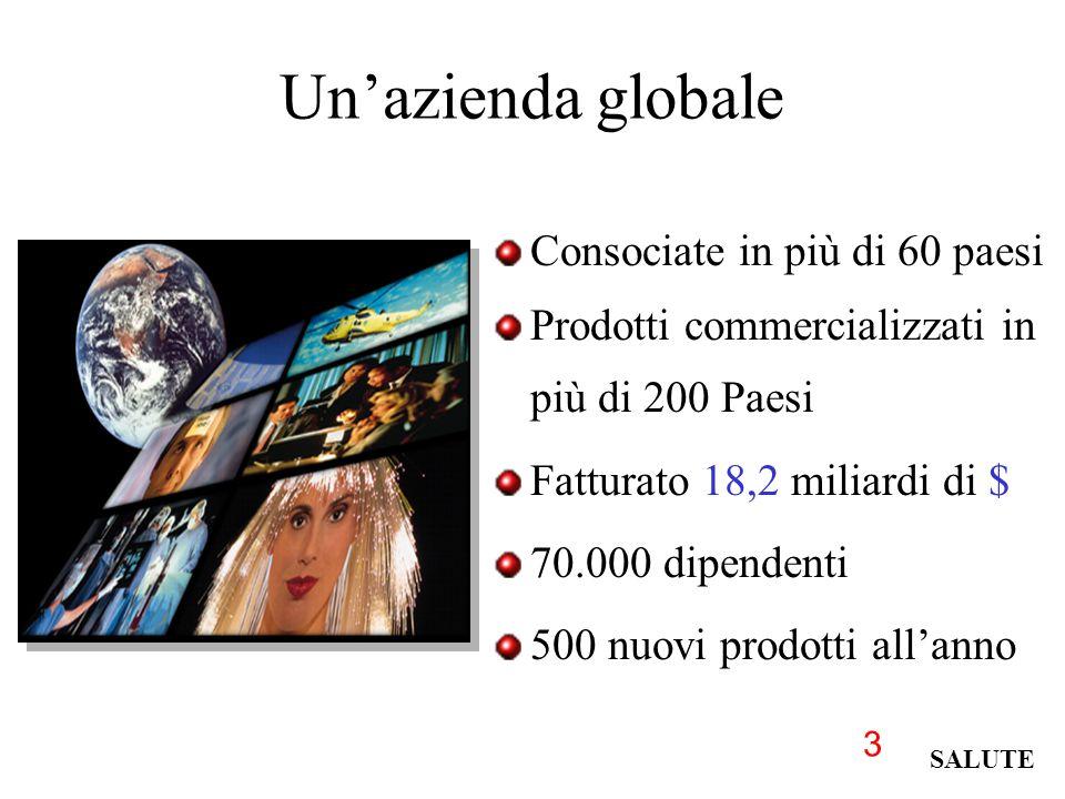3 Un'azienda globale Consociate in più di 60 paesi Prodotti commercializzati in più di 200 Paesi Fatturato 18,2 miliardi di $ 70.000 dipendenti 500 nuovi prodotti all'anno