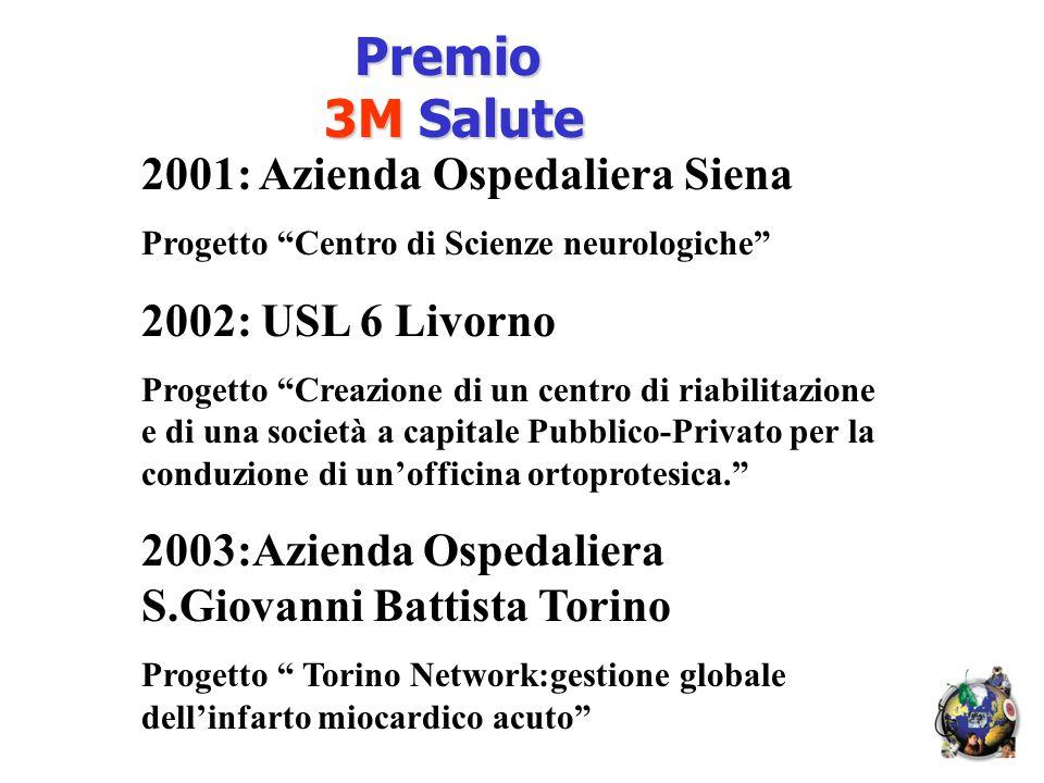 2001: Azienda Ospedaliera Siena Progetto Centro di Scienze neurologiche 2002: USL 6 Livorno Progetto Creazione di un centro di riabilitazione e di una società a capitale Pubblico-Privato per la conduzione di un'officina ortoprotesica. 2003:Azienda Ospedaliera S.Giovanni Battista Torino Progetto Torino Network:gestione globale dell'infarto miocardico acuto Premio Premio 3M Salute