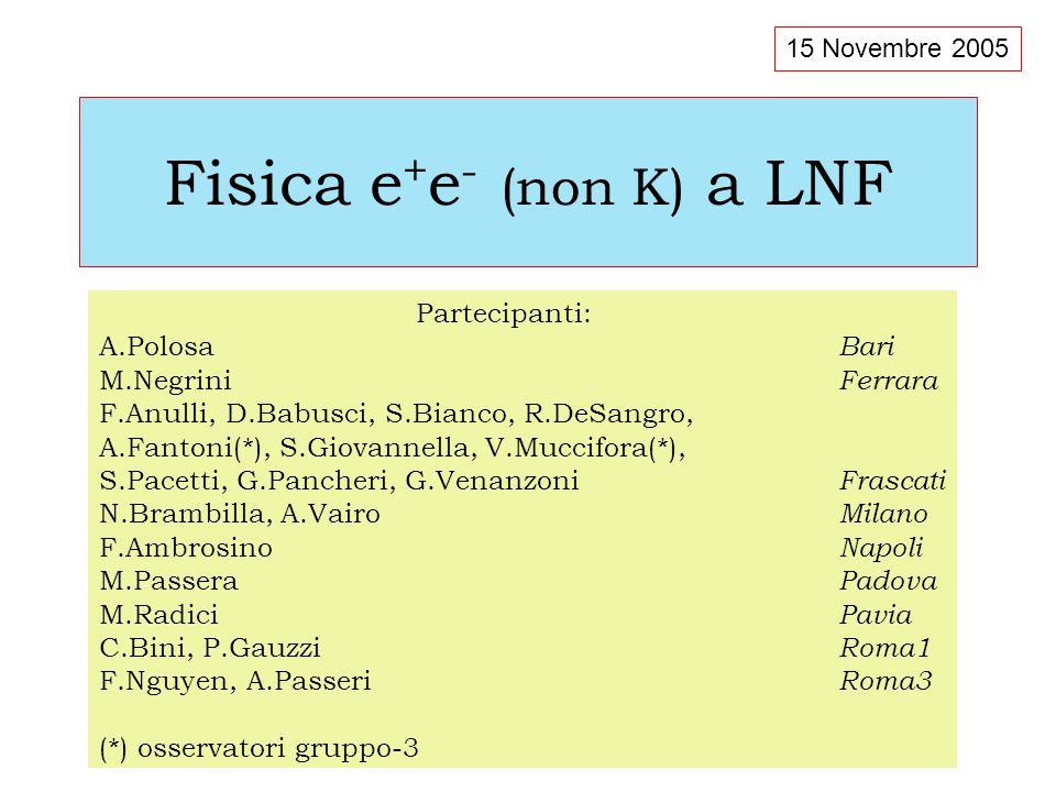 Fisica e + e - (non K) a LNF Partecipanti: A.Polosa Bari M.Negrini Ferrara F.Anulli, D.Babusci, S.Bianco, R.DeSangro, A.Fantoni(*), S.Giovannella, V.Muccifora(*), S.Pacetti, G.Pancheri, G.Venanzoni Frascati N.Brambilla, A.Vairo Milano F.Ambrosino Napoli M.Passera Padova M.Radici Pavia C.Bini, P.Gauzzi Roma1 F.Nguyen, A.Passeri Roma3 (*) osservatori gruppo-3 15 Novembre 2005