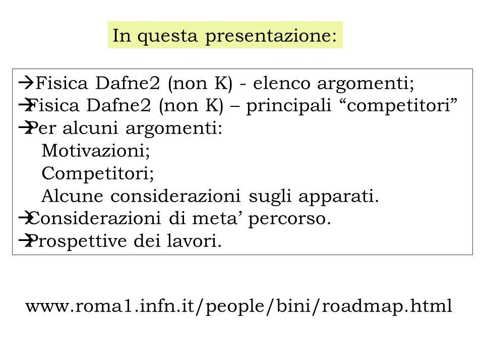  Fisica Dafne2 (non K) - elenco argomenti;  Fisica Dafne2 (non K) – principali competitori  Per alcuni argomenti: Motivazioni; Competitori; Alcune considerazioni sugli apparati.