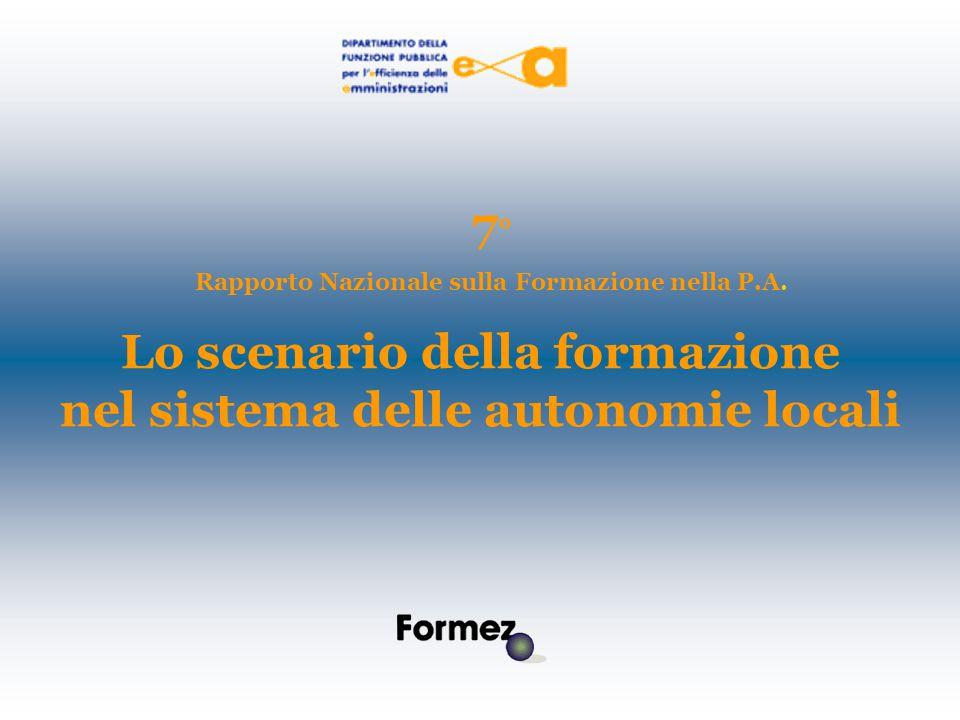 Lo scenario della formazione nel sistema delle autonomie locali 7 ° Rapporto Nazionale sulla Formazione nella P.A.