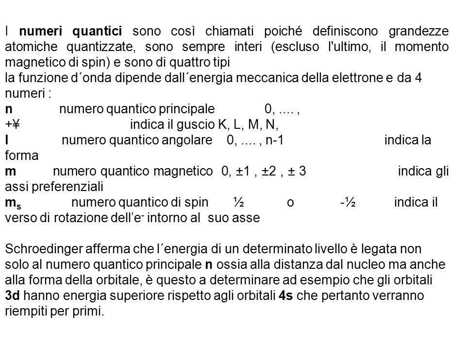 I numeri quantici sono così chiamati poiché definiscono grandezze atomiche quantizzate, sono sempre interi (escluso l ultimo, il momento magnetico di spin) e sono di quattro tipi la funzione d´onda dipende dall´energia meccanica della elettrone e da 4 numeri : n numero quantico principale 0,...., +¥ indica il guscio K, L, M, N, l numero quantico angolare 0,...., n-1 indica la forma m numero quantico magnetico 0, ±1, ±2, ± 3 indica gli assi preferenziali m s numero quantico di spin ½ o -½ indica il verso di rotazione dell'e - intorno al suo asse Schroedinger afferma che l´energia di un determinato livello è legata non solo al numero quantico principale n ossia alla distanza dal nucleo ma anche alla forma della orbitale, è questo a determinare ad esempio che gli orbitali 3d hanno energia superiore rispetto agli orbitali 4s che pertanto verranno riempiti per primi.