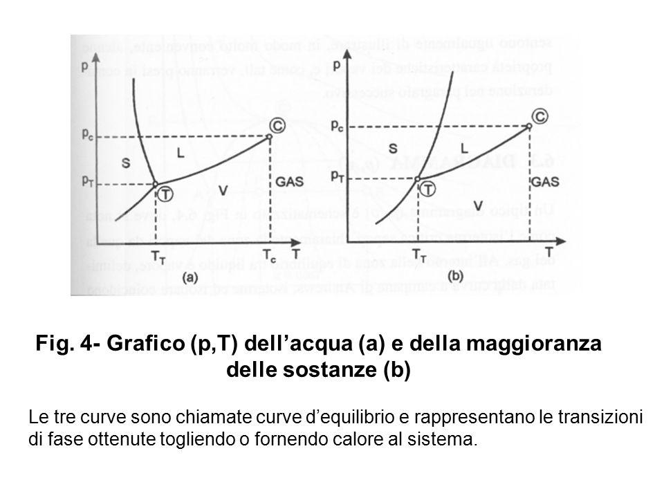 Fig. 4- Grafico (p,T) dell'acqua (a) e della maggioranza delle sostanze (b) Le tre curve sono chiamate curve d'equilibrio e rappresentano le transizio