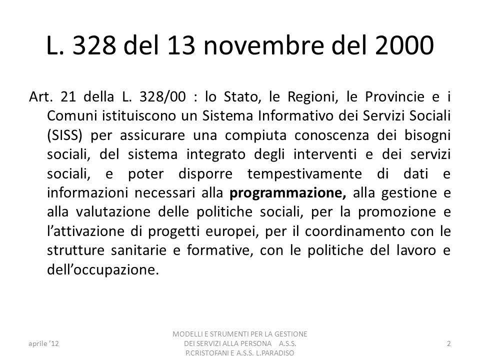 L. 328 del 13 novembre del 2000 Art. 21 della L.