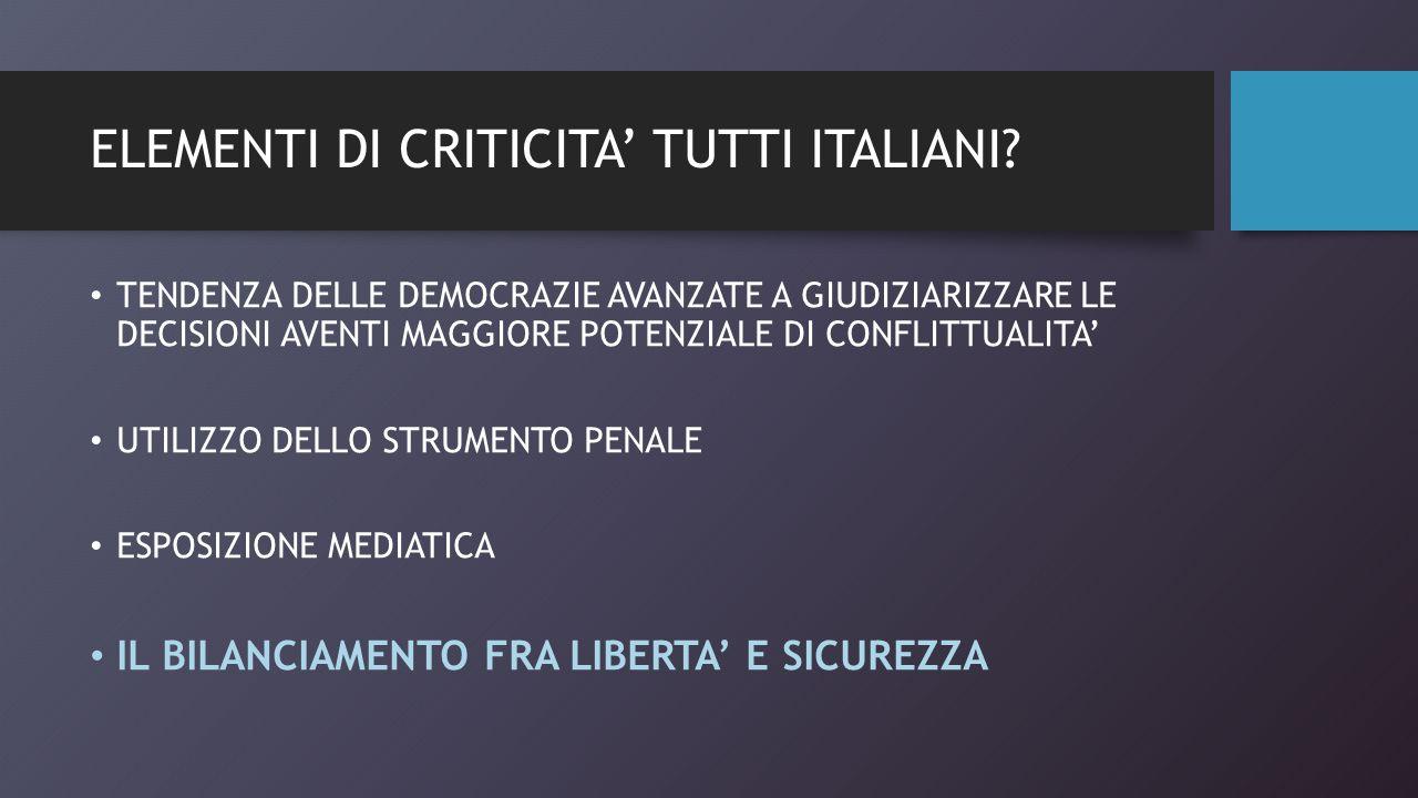 ELEMENTI DI CRITICITA' TUTTI ITALIANI.