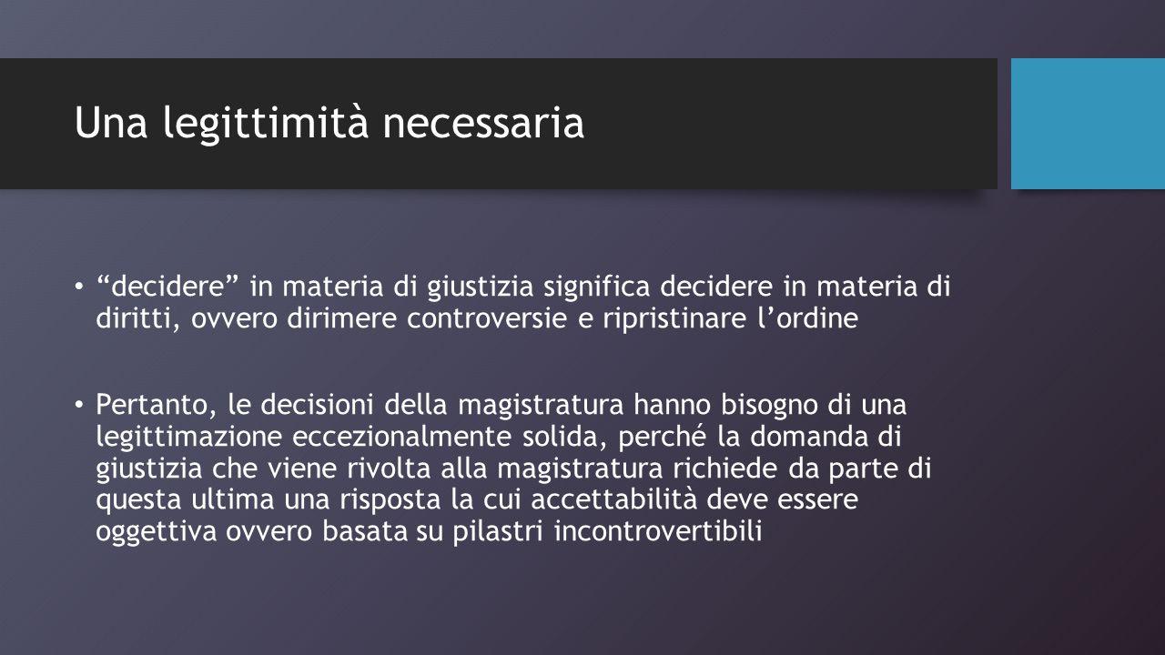 Il flusso della legittimazione LEGITTIMAZIONE DELL'OUTPUT DECISIONI GIUDIZIARIE Garanzie di indipendenza Garanzie processuali Norme giuridiche e dottrina ESITO GIUDIZIARIO PROCESSUALE SERVIZIO RESO ALLE PARTI IMMAGINE DI SERVIZIO OFFERTA AL CITTADINO ACCESSIBILITA' DEL SISTEMA GIUSTIZIA PER UN CITTADINO ANONIMO (NON NECESSARIAMENTE PARTE X N.