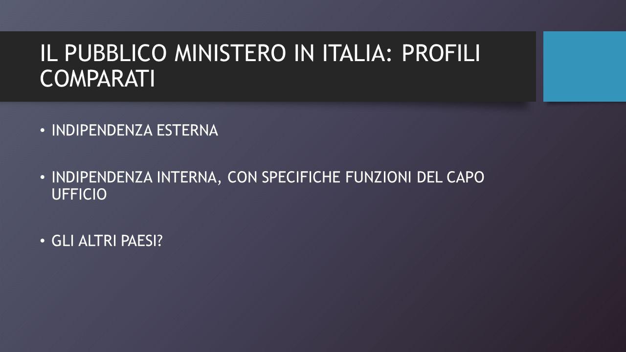 IL PUBBLICO MINISTERO IN ITALIA: PROFILI COMPARATI INDIPENDENZA ESTERNA INDIPENDENZA INTERNA, CON SPECIFICHE FUNZIONI DEL CAPO UFFICIO GLI ALTRI PAESI?