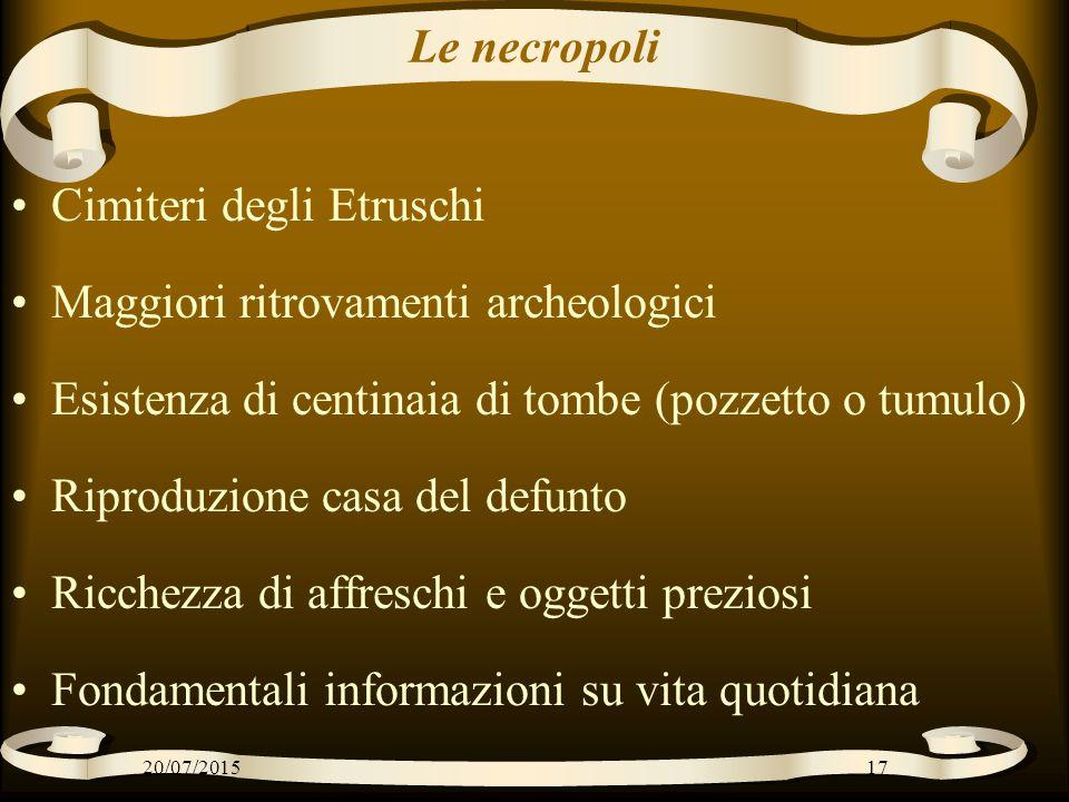 Le necropoli Cimiteri degli Etruschi Maggiori ritrovamenti archeologici Esistenza di centinaia di tombe (pozzetto o tumulo) Riproduzione casa del defu