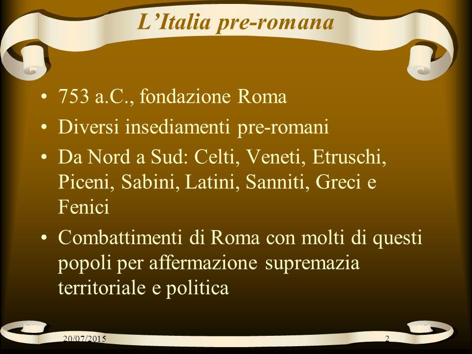 L'Italia pre-romana 753 a.C., fondazione Roma Diversi insediamenti pre-romani Da Nord a Sud: Celti, Veneti, Etruschi, Piceni, Sabini, Latini, Sanniti,