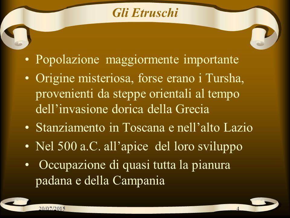Gli Etruschi Popolazione maggiormente importante Origine misteriosa, forse erano i Tursha, provenienti da steppe orientali al tempo dell'invasione dor