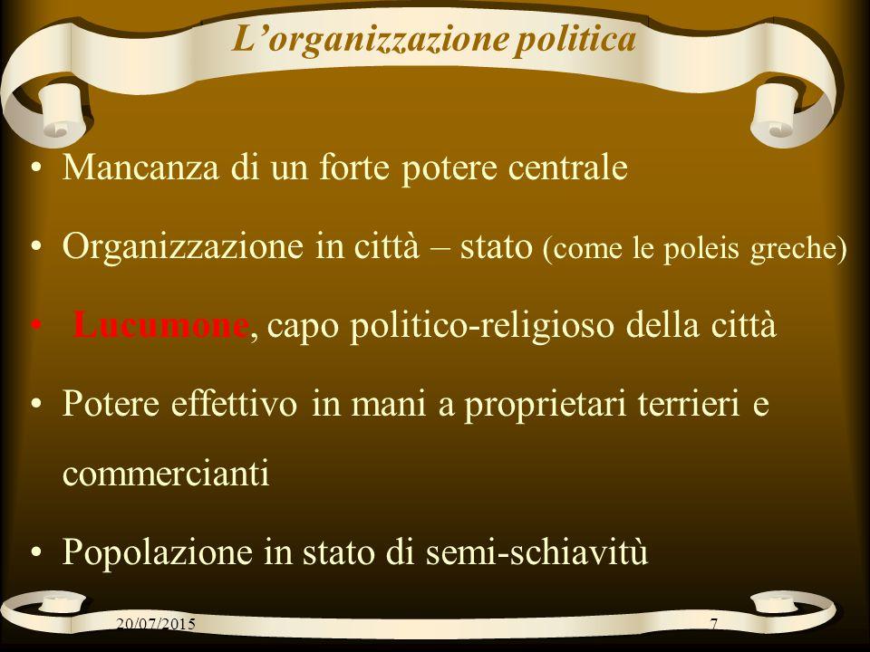 L'organizzazione politica Mancanza di un forte potere centrale Organizzazione in città – stato (come le poleis greche) Lucumone, capo politico-religio