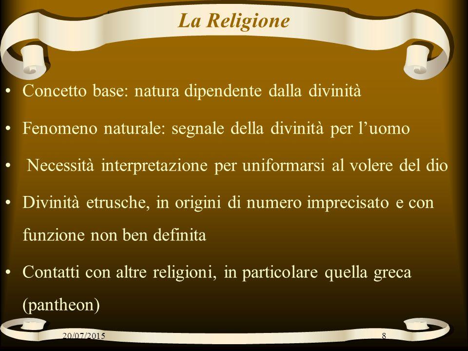 La Religione Concetto base: natura dipendente dalla divinità Fenomeno naturale: segnale della divinità per l'uomo Necessità interpretazione per unifor