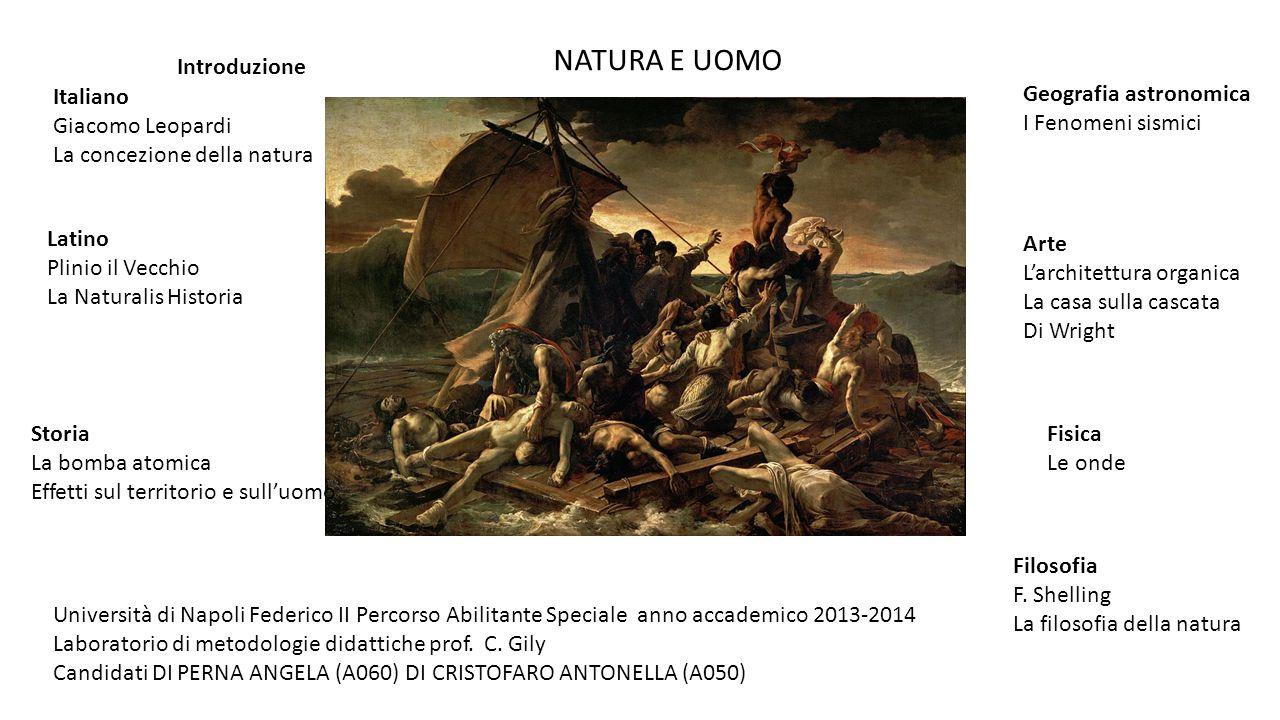 NATURA E UOMO Italiano Giacomo Leopardi La concezione della natura Storia La bomba atomica Effetti sul territorio e sull'uomo Latino Plinio il Vecchio