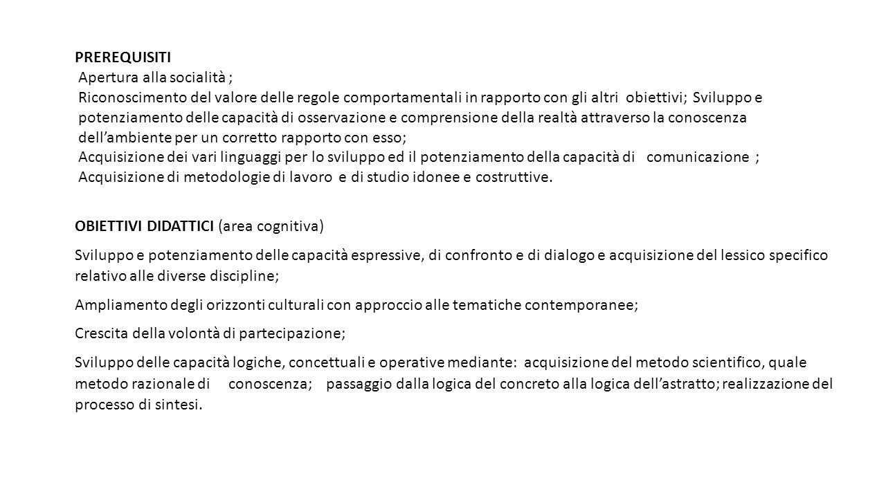 PREREQUISITI Apertura alla socialità ; Riconoscimento del valore delle regole comportamentali in rapporto con gli altri obiettivi; Sviluppo e potenzia