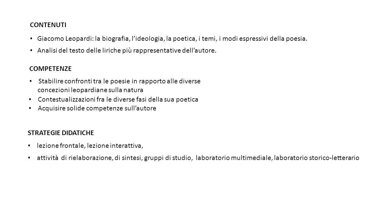 CONTENUTI Giacomo Leopardi: la biografia, l'ideologia, la poetica, i temi, i modi espressivi della poesia. Analisi del testo delle liriche più rappres