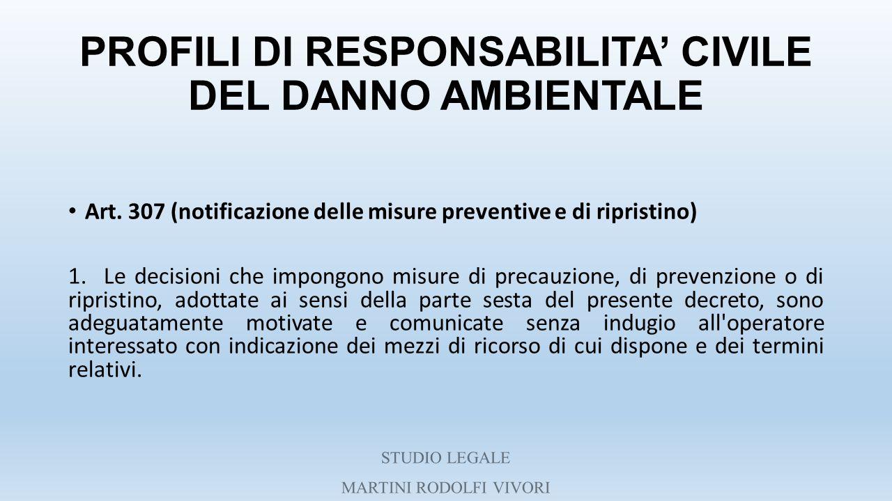 PROFILI DI RESPONSABILITA' CIVILE DEL DANNO AMBIENTALE Art. 307 (notificazione delle misure preventive e di ripristino) 1. Le decisioni che impongono