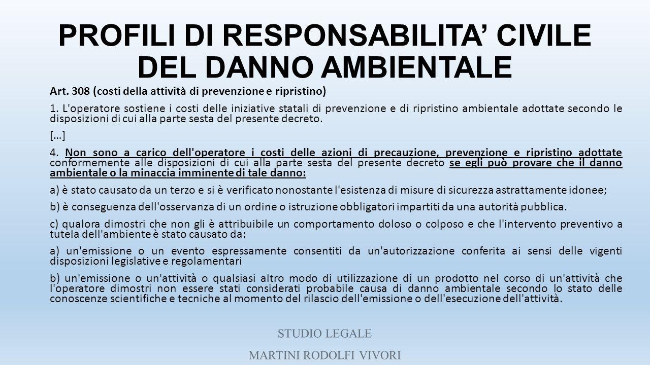 PROFILI DI RESPONSABILITA' CIVILE DEL DANNO AMBIENTALE Art. 308 (costi della attività di prevenzione e ripristino) 1. L'operatore sostiene i costi del