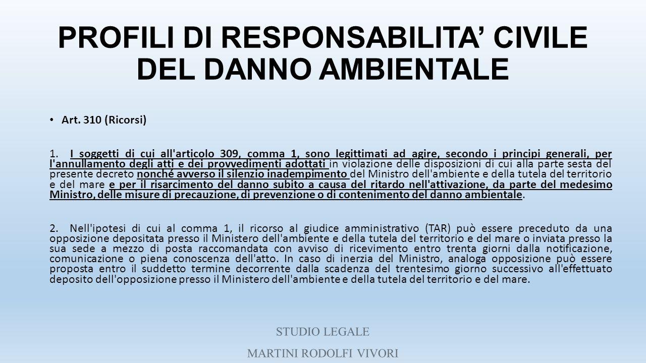 PROFILI DI RESPONSABILITA' CIVILE DEL DANNO AMBIENTALE Art. 310 (Ricorsi) 1. I soggetti di cui all'articolo 309, comma 1, sono legittimati ad agire, s