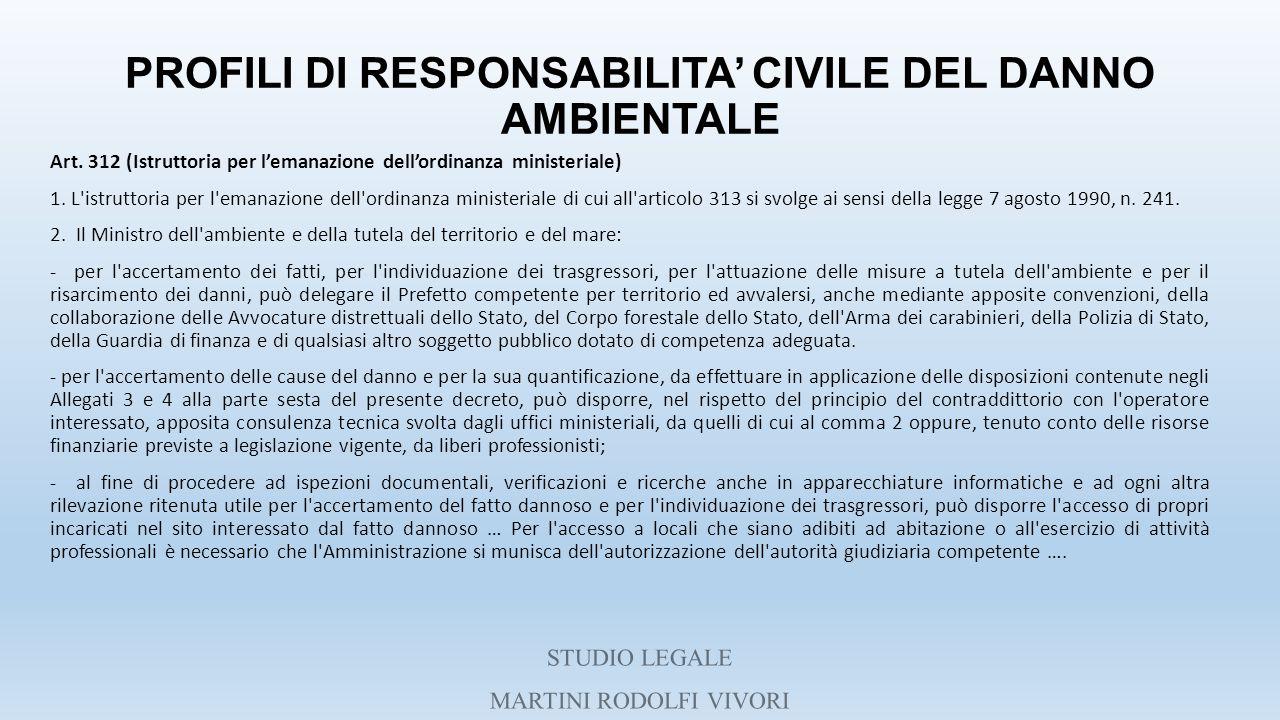 PROFILI DI RESPONSABILITA' CIVILE DEL DANNO AMBIENTALE Art. 312 (Istruttoria per l'emanazione dell'ordinanza ministeriale) 1. L'istruttoria per l'eman