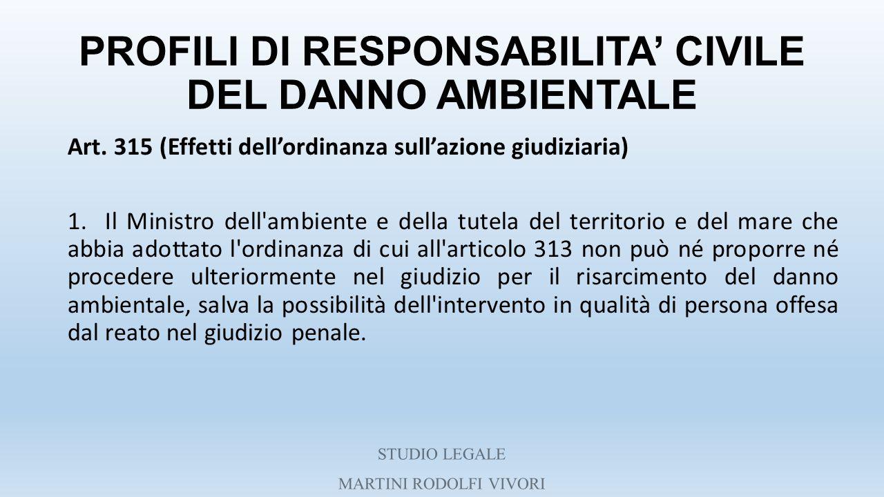 PROFILI DI RESPONSABILITA' CIVILE DEL DANNO AMBIENTALE Art. 315 (Effetti dell'ordinanza sull'azione giudiziaria) 1. Il Ministro dell'ambiente e della