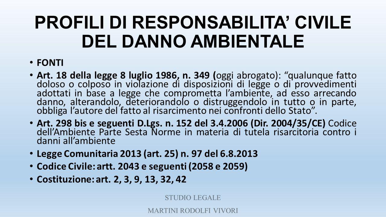 """PROFILI DI RESPONSABILITA' CIVILE DEL DANNO AMBIENTALE FONTI Art. 18 della legge 8 luglio 1986, n. 349 (oggi abrogato): """"qualunque fatto doloso o colp"""