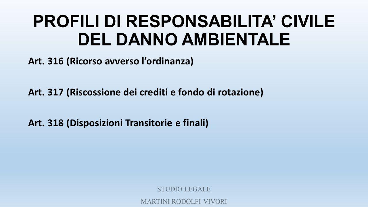 PROFILI DI RESPONSABILITA' CIVILE DEL DANNO AMBIENTALE Art. 316 (Ricorso avverso l'ordinanza) Art. 317 (Riscossione dei crediti e fondo di rotazione)